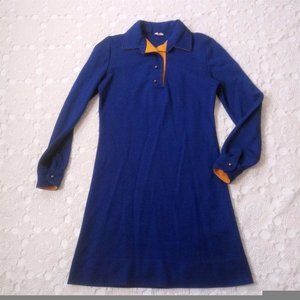 Vtg 70s S/ M Blue Knit Shirt Dress Above Knee Mod